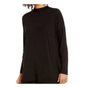 Eileen Fisher Black Long Sleeve Mock Neck Tunic Sm